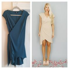 Dahlnyc Colette wrap dress in teal and champagne. Bridesmaids dress option...