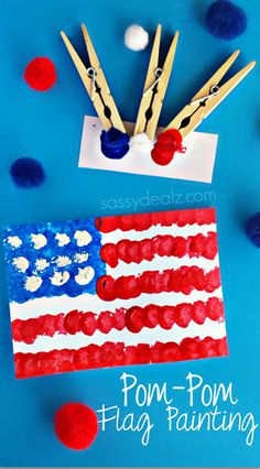 Pom-Pom American Flag Painting Craft for Kids - Fun and easy for a of July craft or Memorial Day art project! Have your kids make a pom-pom American Flag craft for a of July or Memorial Day art project. All you need is clothespins, pom-poms, and paint! American Flag Crafts, American Flag Painting, American Symbols, Painting Crafts For Kids, Art For Kids, Kids Fun, Craft Paint, Kid Art, Daycare Crafts