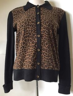 Kenar Size 3X Cardigan Sweater Leopard Print Button Down 3/4 ...