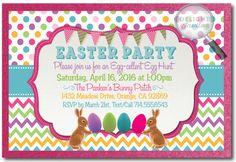 Retro Easter Egg Hunt Invitations, Easter party invitations, vintage Easter invitations, Egg Hunt design, Easter bunny egg hunt party, printed Easter invitations
