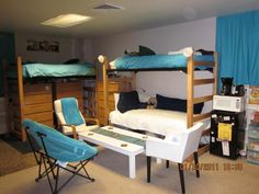 don't know if beds can be lofted...put desks where the dressers are? put at least one dresser in each of the 2 closets...wardrobe at end of lofted bed? hmmm?????
