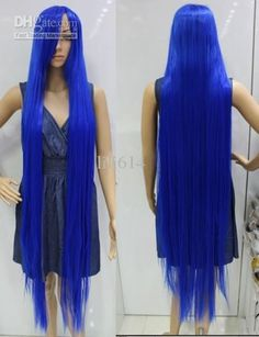Wholesale Halloween Wig - Buy 150cm Blue Very Long Straight ...