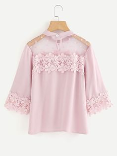 SheIn offers Flower Lace Trim Dot Blouse & more to fit your fashionable needs. Teen Fashion Outfits, Look Fashion, Girl Fashion, Fashion Dresses, Trendy Fashion, Cute Blouses, Blouses For Women, Blouse Styles, Blouse Designs
