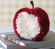 A Pom pom apple. LOVE this and I hope to figure out how to do it! Pom Pom Crafts, Yarn Crafts, Diy And Crafts, Craft Projects, Crafts For Kids, Projects To Try, Arts And Crafts, Pom Pom Animals, Pom Pon