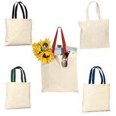 412b59e02653 High Quality Budget Reusable Cotton Tote Bag with Color Handles - B150