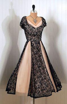 1950s pale pink & black lace dress