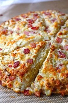 Ham and Cheese Scones ~ Canadian ham, cheddar cheese & onions baked into a hearty scone. The perfect sidekick to your favorite salad or soup. Breakfast Dishes, Breakfast Recipes, Brunch Recipes, Breakfast Scones, Snack Recipes, Cooking Recipes, Bread Recipes, Scone Recipes, Ham Recipes
