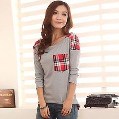 Women's  Loose Long Sleeved Round Neck T-Shirt – CAD $ 19.16
