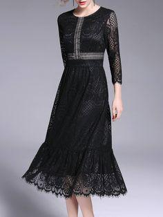 #AdoreWe StyleWe Midi Dresses - OULIE Crocheted Lace Crew Neck 3/4 Sleeve Flounce Midi Dress - AdoreWe.com