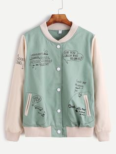 Shop Contrast Letter Graffiti Print Pocket Jacket at ROMWE, discover more fashion styles online. Pastel Fashion, Kawaii Fashion, Teen Fashion, Korean Fashion, Fashion Outfits, Vetement Fashion, Cute Jackets, Kawaii Clothes, Korean Outfits