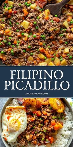 Filipino Picadillo is a delicious, one-skillet dinner made with ground beef, potatoes, raisins and vegetables in flavorful sauce. giniling recipe filipino food Filipino Picadillo - A Family Feast® Asian Recipes, Mexican Food Recipes, Healthy Recipes, Ethnic Recipes, Ground Beef Recipes Asian, Ground Beef Filipino Recipe, Easy Filipino Recipes, Ground Beef Meals Healthy, Ground Beef Recipes Skillet