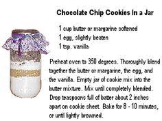 Chocolate Chip Cookies In a Jar Printable Tags: Chocolate Chip Cookies In a Jar Photo Design Printable Tag