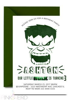 Incredible Hulk Birthday Invitation Green