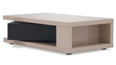 Benny High Gloss Taupe Lacquer Rectangular Coffee Table | Zuri Furniture