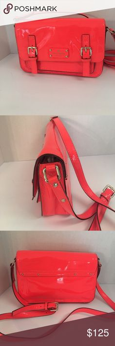 Kate spade scout coral patent Leather cross body This is a gorgeous authentic Kate Spade New York scout Flickr flow coral orange patent leather Crossbody.  This is a very rare bag and hard to fine. Pictures beautiful glossy patent leather. Magnetic front flap closure. Front slip pocket but Neath the flat. Interiors zip pocket. 14 karat gold plated hardware. Polkadot lining.  Excellent condition other than small scuff mark on the front. See photos. kate spade Bags Crossbody Bags