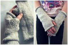 amanda over at homespun asked if i would be able to make some women's fingerless gloves for the shop in addition to all the lucy & the bird goodies. well, of course. i instantly had two specific styles in mind. i thought one style in a heavier yarn - simple and functional paired with a style