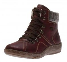 These outdoorsy ankle boots feature a synthetic leather upper with contrast stitching and a knit-trimmed upper shaft for enhanced warmth. Inside, a cozy lamb's wool lining is enhanced with TEX, a water repellant, moisture-wicking membrane to keep feet in Walk On, Shoe Collection, Hiking Boots, High Top Sneakers, Wine, Ankle Boots, Loafers, Womens Fashion, Leather