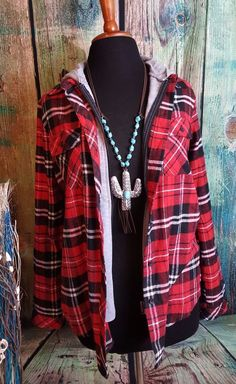 Cowgirl Country PLAID HOODED Western Layered look shirt Rustic NWT LARGE #CISONO #WESTERN