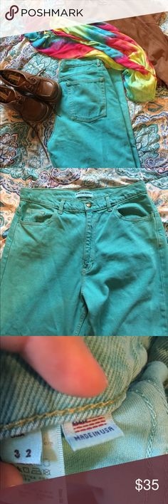 Amazing Teal American Apparel Jeans Official American Apparel NWOT never been worn. Straight leg. Not very stretchy. Size 32. Vintage worn look. Gold accents( stitching and button) would better fit a size 10 maybe American Apparel Jeans Straight Leg
