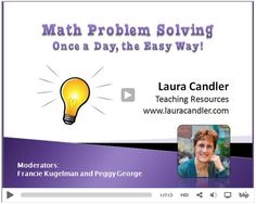Free Math Problem Solving Webinar by Laura Candler and other problem solving resources