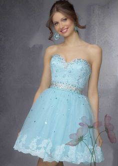 Beading Sweetheart Ruffled Tulle Auqa Short Party Dress On Sale