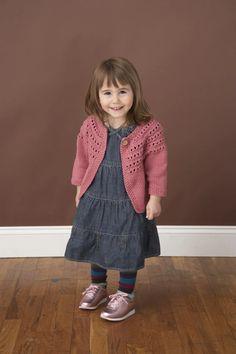 Eyelet Yoke Cardigan Pattern (Knit) – Lion Brand Yarn Baby Cardigan Knitting Pattern, Baby Knitting Patterns, Baby Patterns, Knitting For Kids, Free Knitting, Frederique, Toddler Sweater, Baby Sweaters, Lana