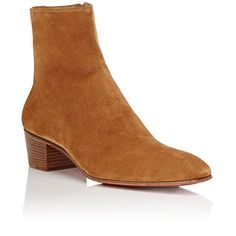 Christian Louboutin Men's Huston Suede Boots ($1,250) ❤ liked on Polyvore featuring men's fashion, men's shoes, men's boots, mens cuban heel shoes, mens side zip boots, mens tan suede shoes, mens suede shoes and mens tan suede chelsea boots