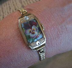 Victorian scrap, vintage ladies' wrist watch bracelet.