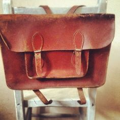 1950's English school satchel  - mine like many others was covered in the names of pop stars.