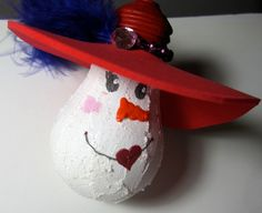 Red Hat Snow Lady ornament was made from a recycled lightbulb.    A fun ornament for your Christmas tree.  3 1/2 length from top of hat to
