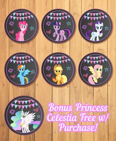 My Little Pony Cupcake Toppers Chalkboard My por SometimesPie