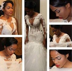 2016 Sexy South Africa Long Sleeves Lace Mermaid Wedding Dresses 2015 Winter Plus Size Crew Sheer Neck Deep Gap Bridal Gowns Sexy BO9394 Online with $206.81/Piece on Babyonline's Store | DHgate.com