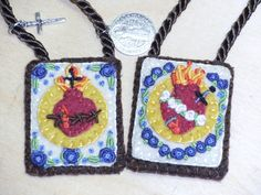 Brown Scapular with the embroidered images of the Sacred Heart of Jesus and the Immaculate Heart of Mary. $40.00, via Etsy.