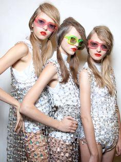 glitter-in-wonderland:  stopdropandvogue:  Alisa Matviychuk, Rasa Zukauskaite and Amanda Norgaard backstage at Prada Spring/Summer 2010   xx