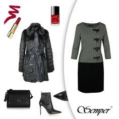 Jak wyglądać elegancko nawet jesienią? To proste: wystarczy sukienka i ciepłe futerko od Semper :) #fashion #semperfashion #moda #modapolska #inspiracje #stylish #women #kobietasemper