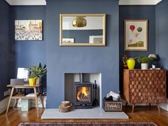 A lovely space finished with our concrete hearth and a cosy log burner. Fire Surround, Hearths, Log Burner, Concrete Design, Cosy, Black And Brown, Lounge, Living Room, Space