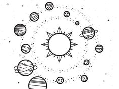 solar system drawing drawings space doodle dribbble easy planet tattoo science pencil tattoos coloring planets doodles sketches inspo painting pages
