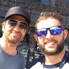 Zac with Gerard Butler at the Daytona 500