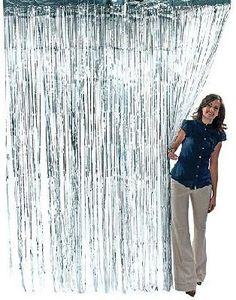 Silver Party Curtain Metallic Fringe Foil Tinsel Room Decor 3 x 8 ft.
