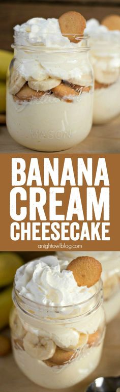 No Bake Banana Cream Cheesecake - a delicious no-fuss, easy dessert that will have you enjoying your favorite Banana Cream Pie flavors in just minutes! ( try using vanilla pudding instead of banana cream) 13 Desserts, Brownie Desserts, Sugar Free Desserts, Sugar Free Recipes, Sweet Recipes, Delicious Desserts, Dessert Recipes, Yummy Food, Banana Recipes No Bake