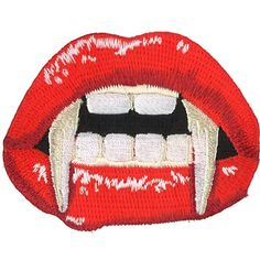 Vampire Mouth Iron-On Patch Horror Blood Gore Punk Goth Gothic Monster... (33 PEN) ❤ liked on Polyvore featuring fillers and halloween