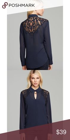 Guess Eve Brocade Lace Top GUESS Eve brocade lace top in navy. NWT. Price is firm unless bundled. Guess Tops