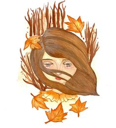 """Watercolor art print by @bluestarshinecreation on instagram """"Memory of Autumn's Melancholy"""" autumn artwork Melancholy, Creative Words, Watercolor Art, Disney Characters, Fictional Characters, Poems, Autumn, Art Prints, Disney Princess"""