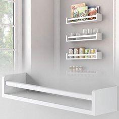 1 White Kitchen Wall Shelf Spice Rack Organizer Wood Ships Fully Assembled 17.5 Inch