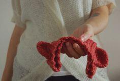 Bear headband earmuff crochet  in lobster pink wool by kckshop, €20.00
