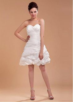 LOVELY TAFFETA SATIN A-LINE SWEETHEART EMPIRE WAIST KNEE LENGTH WEDDING DRESS LACE FORMAL PROM PARTY BALL GOWN