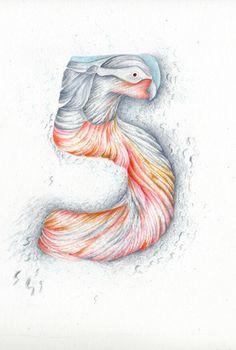 Le cinq. Aquarelle, crayon sur canson.