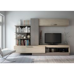 The asymmetrical design of the Trasman Lyric Wall Unit Entertainment Center makes it a contemporary, versatile unit that brings incredible style. Modern Tv Wall Units, Tv Unit Furniture, Rack Tv, Entertainment Wall, Entertainment Centers, Entertainment Products, Muebles Living, Tv Wall Design, Home Office