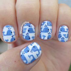Omgggg so cute! Whale Nail Art Design, Animal Nail Art
