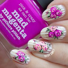 piCture pOlish – Nail Art Quarterly July 2015 (Very Emily) Nail Art Flowers Designs, Nail Designs, Flower Designs, Get Nails, Hair And Nails, Spring Nails, Summer Nails, Picture Polish, Floral Nail Art